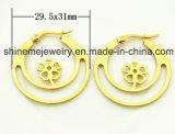 CZ (ERS6965)와 가진 Shineme 보석 진공 도금 금 장식 못 귀걸이