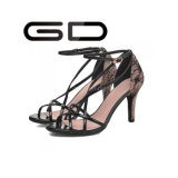Chaussures minces de talon de mode de type romain de noir ouvert classique de tep