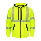 Hola chaqueta de bombardero en flor de los hombres de la seguridad amarilla del Vis