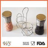 Ws-Pgs001 Ensemble de broyeur de sel et de poivre Premium avec un moulin à sel et poivre manuel Bonus Stand