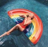 무지개 팽창식 매트 물 부동 투표자 수영 반지 부유물 수영장 장난감