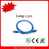 2h0 du matin d'USB au bleu transparent du câble usb L=1.5m d'imprimante de nomenclature