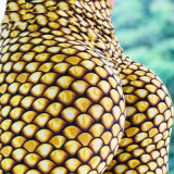 Escala de impressão digital de peixe de ouro fino de Elevada relação cintura Exercício Ioga Pants Perneiras