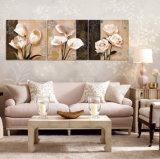 La maschera decorativa di arte della parete di vendita delle 3 parti di parete della casa moderna calda della pittura verniciata su tela di canapa fiorisce la pittura con Mc-198 incorniciato