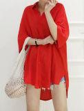Venda a quente a fiação de forma sólida Camisa Feminina Polo Colar de Travamento