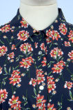 OEM-Flower печать длинными рукавами лодыжки длина Высокая Низкая Ruffle повседневная одежда