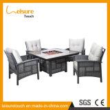 Pátio de alumínio modernas fire pit Inicial da mesa de jantar de vime Chair Hotel Vime mobiliário de jardim exterior