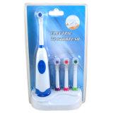 Drehende elektrische Zahnbürste mit Unterseite u. vier Pinseln