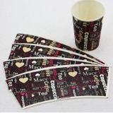 Ventilateur enduit estampé de cuvette de papier de PE simple pour le café vers le haut
