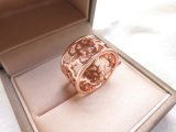 Rosen-Goldplatte, die hohlen Coppery Ring für Frauen überzieht