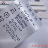 Acetinado personalizada de fábrica/Seda Tecido de poliéster Cuidado Etiqueta de Lavagem