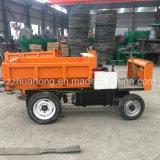 Mini carro de descargador con la elevación hidráulica, triciclo eléctrico para descargador de la construcción de la mina el mini para Perú