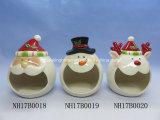 Supporto di ceramica del biscotto del pupazzo di neve divertente per la decorazione di natale
