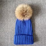 安い毛皮POM POMの帽子によって編まれる子供の帽子120g