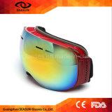 L'anti coutume des brouillons UV400 d'enduit reflété stigmatise des femmes de Googles de ski des lunettes de ski de type
