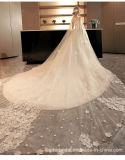 Vestido 2017 nupcial que perla vestidos de casamento árabes com xaile M6856