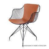 Ocio Cojín de respaldo de cuero de comedor silla metálica