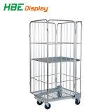 Depósito Nestable dobrável de metal Wire Mesh Roll cage Cart