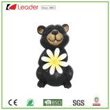 Orso superiore della resina di vendite con la statua del fiore per la decorazione del giardino