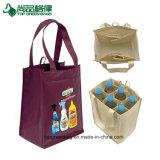Le vin non tissé promotionnel de vente chaud de paquet de six portent le sac avec le logo fait sur commande