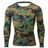 De Mens de camouflage de compactage de chemises de peau courant ascendant fortement sous de longs vêtements de sport de forme physique de séance d'entraînement d'exercice de Crossfit de chemises