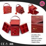 Clásico estilo chino rojo de cuero de PU Joyería Caja de almacenamiento (8739)