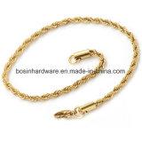 De goud Geplateerde Armband van de Ketting van de Kabel van de Draai van het Roestvrij staal