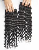 Extensões indianas do cabelo humano do Virgin profundo da onda