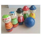 Giocattoli educativi del pirata del fumetto di bowling dei bambini di legno della sfera