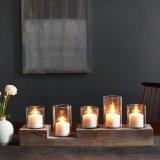 Sostenedor de vela de madera del abeto de madera ligero de la pieza central con el vidrio claro