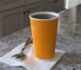 16oz Hot Saled rizado aislados de vasos de papel de pared