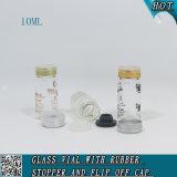 Chiquenaude vide outre des fioles de verre à bouteilles de tube de verre du chapeau 10ml avec le taquet en caoutchouc ambre/clair pour l'usage liquide médical cosmétique d'industrie