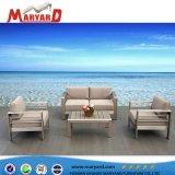 Insieme esterno sezionale del sofà del patio del tessuto con Loveseat ed i coperchi dell'ammortizzatore di sede del sofà