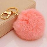 贅沢な毛皮で覆われたプラシ天車の吊り下げ式のキツネの毛皮POM袋Keychain