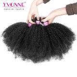 100 자연적인 브라질 머리 Remy 사람의 모발 연장 아프로 비꼬인 곱슬머리 직물