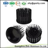 El cilindro negro anodizado de aluminio de extrusión de disipador de calor LED para iluminación comercial