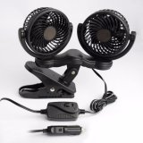 12V Because Car Cooling Fan Oscillating Because Air Fan with Dual Head 2 Adjustable Speeds