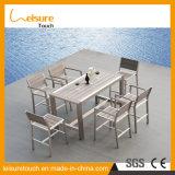 Sechs Leute schwärzen Freizeit-Hof-moderner Stuhl-Aluminiumtisch-gesetzte im Freiengarten-Patio-Möbel