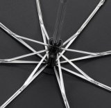 カスタム自動開いた黒いガラス繊維防風フレーム3の折る傘