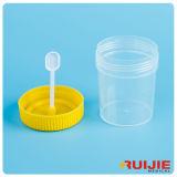 Contenitore di plastica a gettare delle feci del laboratorio