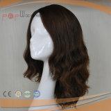 Peluca llena atada mano europea del cordón de la tapa de la piel (PPG-l-0058)