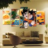 De modulaire het Schilderen Decoratie van het Huis van de Beelden van de Kunst van de Muur van het Canvas Affiches van de Karakters van Anime van de Leider van de Bal van de Draak van 5 Stukken de Afgedrukte Moderne HD