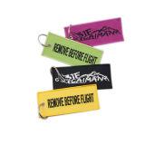 Neue Produkte Soem-schwarze Stickerei-Marke Keychain