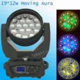 19PCS 12W bewegliche Hauptbeleuchtung des Aura-Wäsche-Summen-LED