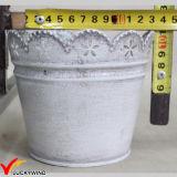 Pot van de Bloemstukken van het Blad van het metaal de Uitstekende Witte Ronde met het Dienblad van de Rechthoek