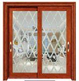 Double vitrage de sécurité porte coulissante de porte en aluminium avec grille de conception