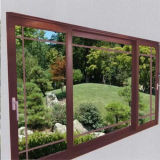 Perfil de película de madera de bisagra de la gran ventana de UPVC