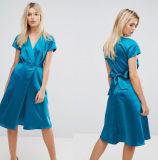 Платье V-Шеи MIDI сатинировки втулки крышки шкафа