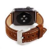 Leer van het Paard van het Ontwerp van de Douane van de Prijs van de fabriek het Bruine Gekke 38mm Banden van het Horloge van de Appel