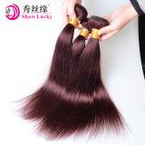 100%のヨーロッパの人間の毛髪の織り方の赤いねじれたカールの倍のWeftステッチされたRemyの毛の編むこと